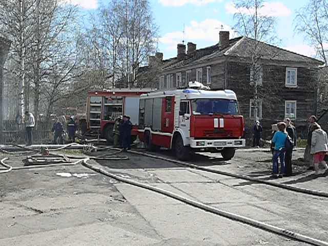Пожарно-спасательные подразделения ликвидировали пожар в г. Котласе Архангельской области