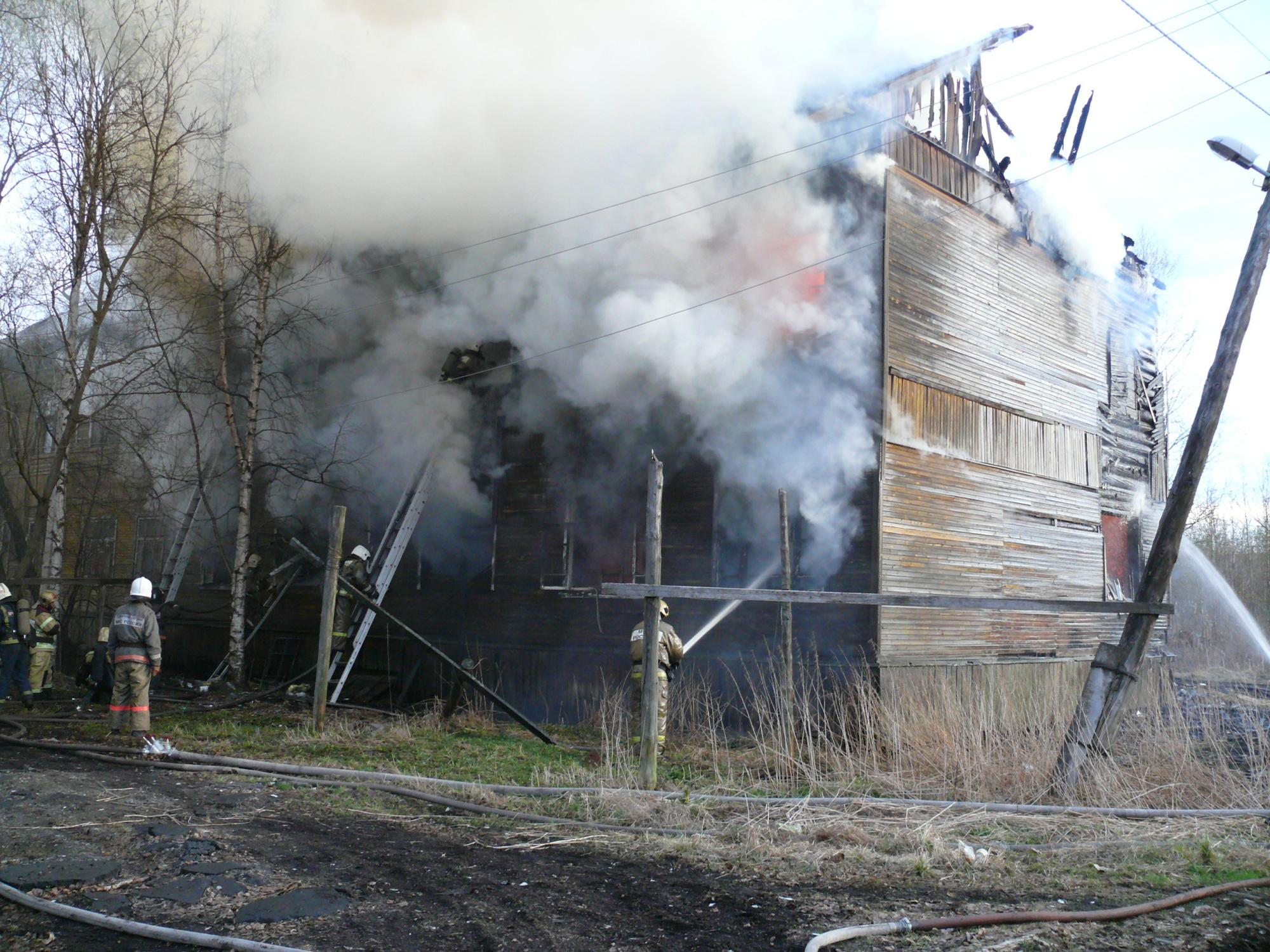 Пожарно-спасательные подразделения ликвидировали пожар в г. Новодвинске Архангельской области